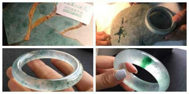 这的翡翠手镯缅甸原石开料,只要成本价